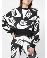 Nike Jersey holgado corto de algodón con cuello redondo - Negro