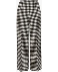 Whistles Wide-leg Checked Linen Trousers - Black
