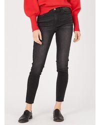 Vila High-rise Skinny Jeans Dark Grey Denim - Gray