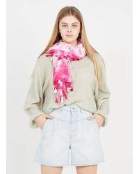 AU PRINTEMPS PARIS Foulard imprimé tie and dye en coton - Rose