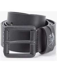 DIESEL Cinturón de piel con emblema del mohawk - Negro