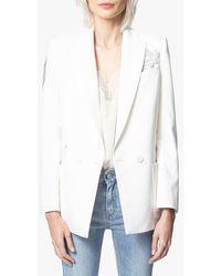 Zadig & Voltaire Veste col tailleur croisé à double boutonnage en c - Blanc