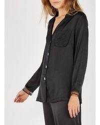 Lou Silk Pyjama Shirt Noir - Black