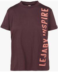 Maison Lejaby Tee-shirt col rond sérigraphié en coton mélangé - Violet