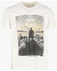 IKKS Tee-shirt col rond imprimé en coton ivoire - Blanc