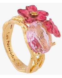 Les Nereides Gold-plated Brass Ring Rose - Pink