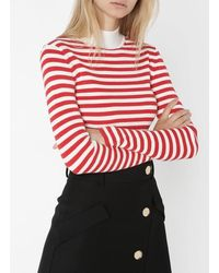 Scotch & Soda Striped Cotton Jumper With High Neck - Red