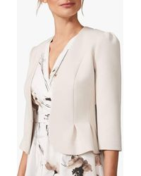 Phase Eight - Fitted V-neck Jacket Cream - Lyst