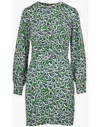 Nice Things Robe courte droite imprimée en crêpe - Vert