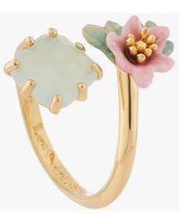 Les Nereides Adjustable Brass Ring Bleu Clair - Metallic