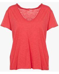 Harris Wilson Tee-shirt col v en coton flammé - Rouge