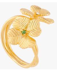 Les Nereides Adjustable Clover Ring Jaune - Metallic