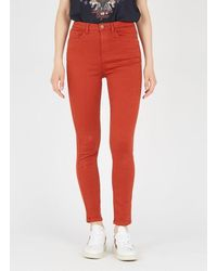 Vila High-rise Skinny Jeans Ketchup - Red