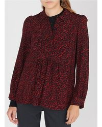Gerard Darel Leopard Print Top With Classic Collar - Red