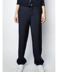 Zadig & Voltaire Pantalon large en laine encre - Bleu