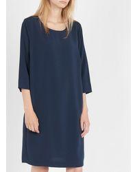 Vila Straight Round-neck Dress Total Eclipse - Blue