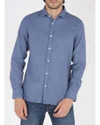 Hartford Slim-fit Cotton Shirt With Classic Collar - Blue
