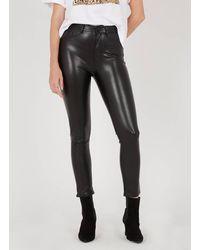 The Kooples Pantalon skinny taille haute 7/8ème en similicuir - Noir
