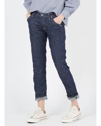 Please Raw denim boyfriend-jeans blu denim - Blau