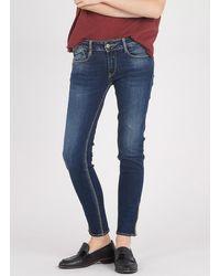 Le Temps Des Cerises 7/8 Zipped Skinny Jeans Blue
