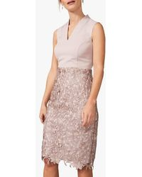 Phase Eight Lace Midi Skort Dress Neutral - Pink