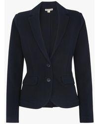 Whistles Veste col tailleur en maille coton navy - Bleu