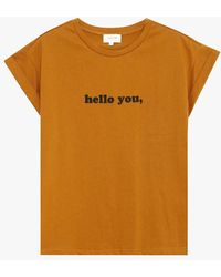 Grace Et Mila Tee-shirt col rond sérigraphié en coton - Orange