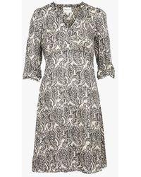 MAISON 123 Robe courte col v imprimé cachemire - Gris