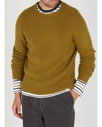 American Vintage Regular-fit Round-neck Mixed-knit Jumper - Green