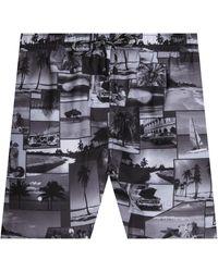 BOSS 'springfish' Quick Dry Cuba Lifestyle Print Swim Shorts Black & White