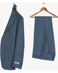Canali Peak Lapel Slim Fit Checked Wool Suit Mid Grey & Blue