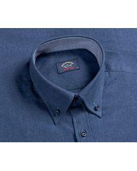 Pockets Paul & Shark Button Down Flannel Shirt Blue
