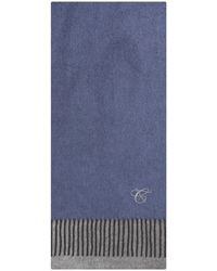Canali 'reversible Silk' Cashmere Scarf Blue