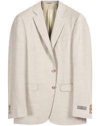 Canali Milano Fit Herringbone Jacket Cream - Multicolour