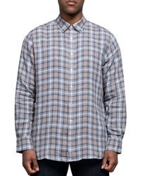 Canali Luxury Linen Checked Shirt Brown/blue