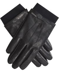 BOSS 'herbo' Leather Gloves With Elasticated Wristband Black