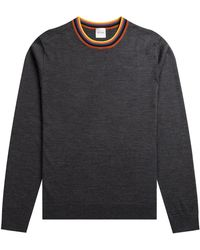 Paul Smith Merino Wool 'artist Stripe' Crew Neck Knit Charcoal - Gray