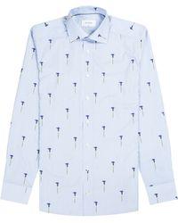 Eton of Sweden Slim Fit Striped Flower Shirt White/blue