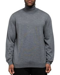 BOSS 'musso-n' Roll Neck Knit With Metal Tab Logo Medium Grey - Gray