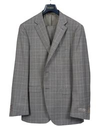 Canali Luxury Wool Checked Suit Light Grey