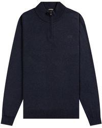 BOSS by Hugo Boss 'barlo' 1/4 Zip Lambs Wool Knit Navy - Blue