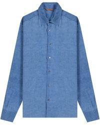 Pockets Barena 'full Button Linen' Shirt Blue