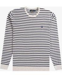 Polo Ralph Lauren - Lightweight Crew Neck Knit Cream/navy - Lyst