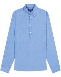 Pockets Eton Overhead Linen Shirt Sky Blue