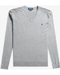Ralph Lauren - Slim Fit Luxury Merino Wool V-neck Knit Fawn Grey Heather - Lyst