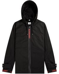 Burberry 'everton' Logo Detail Hooded Jacket Black