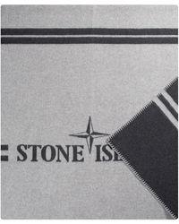 Stone Island 'panno' Jacquard Blanket Grey