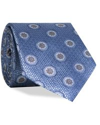 Canali Crested Emblem Silk Tie Blue/gold