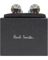 Paul Smith 'circular' Multi-coloured Stripe Edge Cufflinks - Multicolour
