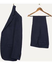 Canali Slim Fit Luxury Silk & Linen Suit Navy - Blue
